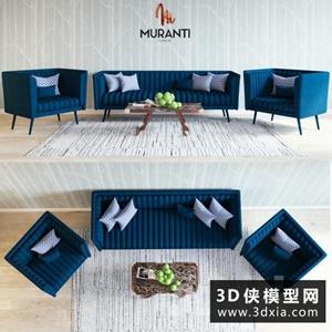 现代沙发组合国外3d模型【ID:729307657】