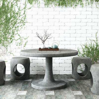 新中式石桌石凳爬墻植物組合3D模型【ID:127766832】