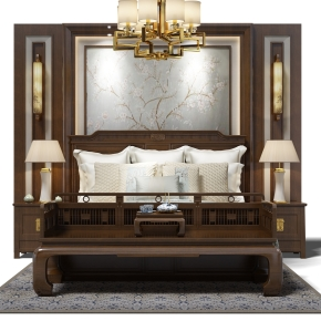 新中式床头背景墙双人床床头柜组合3D模型