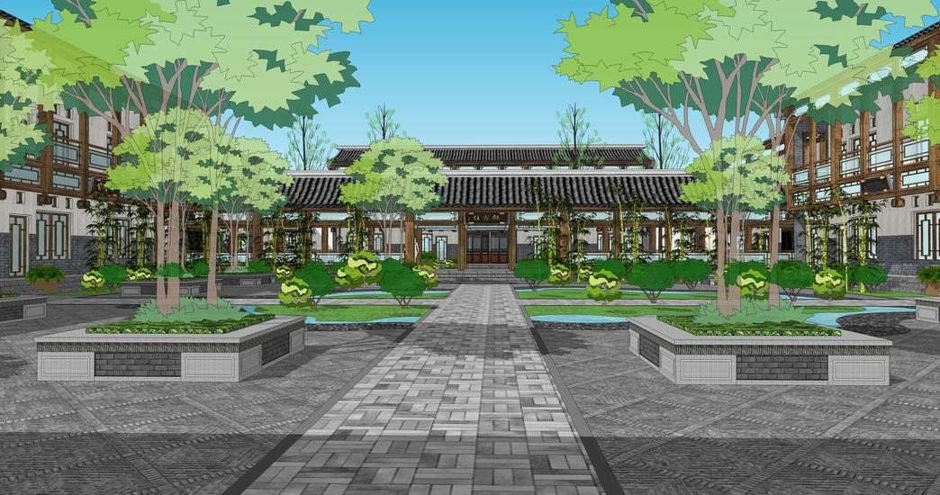 中式庭院SU模型【ID:836421625】