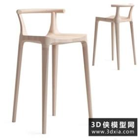 现代北欧木质吧椅国外3D模型【ID:729310889】