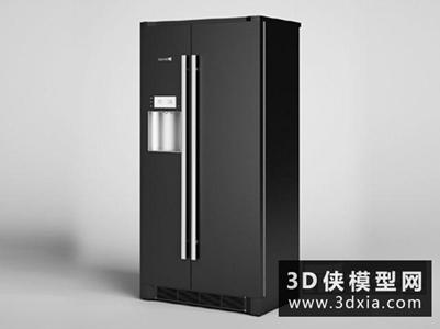 雙門冰箱國外3D模型【ID:129837334】
