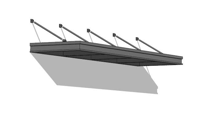 吊杆伞墙安装SU模型【ID:939930723】