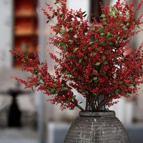 现代泥质灰花瓶花卉3d模型【ID:247289850】