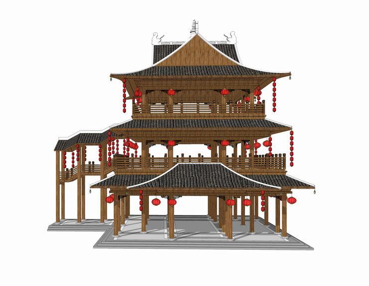 中式阁楼SU模型【ID:836421697】