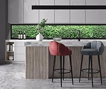 现代吧台椅厨柜组合3D模型【ID:631435335】