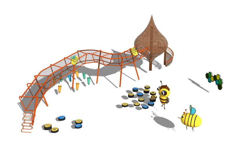 蜜蜂主题儿童游戏器械SU模型【ID:936422609】