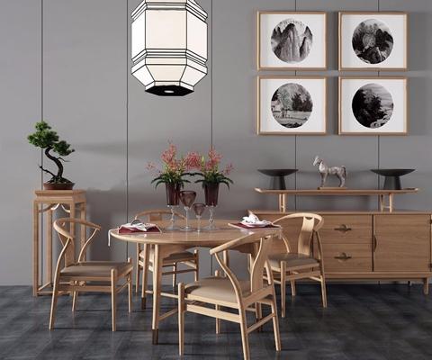 新中式餐桌边柜组合3D模型【ID:327922431】