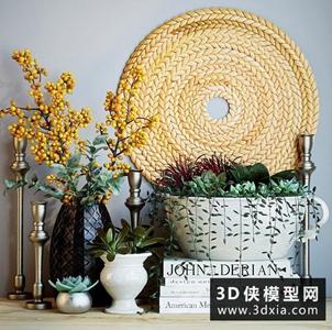 現代多肉植物裝飾品組合國外3D模型【ID:929460835】