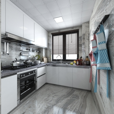 现代厨房橱柜3D模型【ID:127767414】