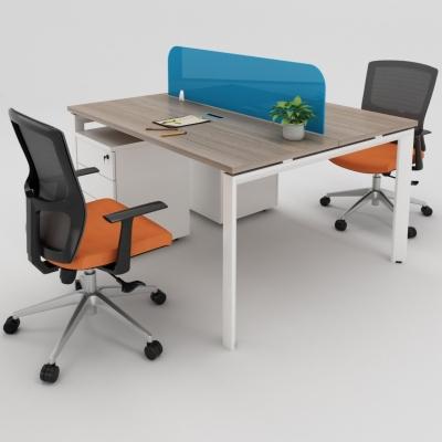 卓依班顿现代办公十字桌椅组合3D模型【ID:627805649】