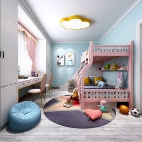 现代卧室儿童房女孩房上下铺3D模型【ID:127777291】