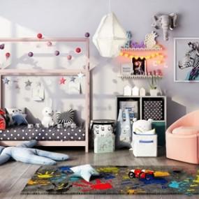 北欧儿童床组合3D模型【ID:620816924】