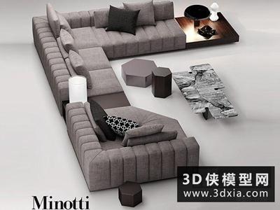 現代轉角沙發國外3D模型【ID:729472606】