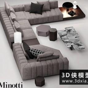 现代转角沙发国外3D模型【ID:729472606】