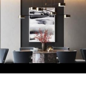 新中式餐桌椅 3D模型【ID:841473892】
