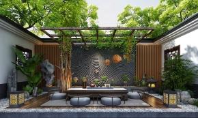 新中式花园休闲区3D模型【ID:927819947】