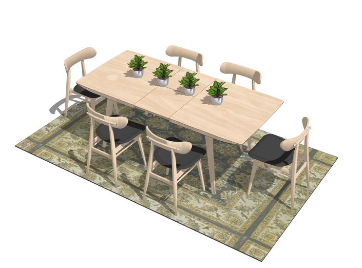 北欧方餐桌SU模型【ID:636423610】