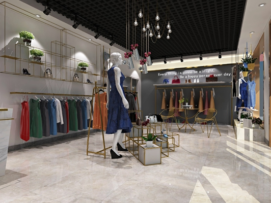 现代服装店3D模型【ID:924881968】