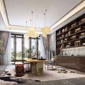 新中式茶室 3D模型【ID:641355110】