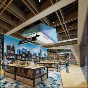 现代图书馆3D模型【ID:828221252】