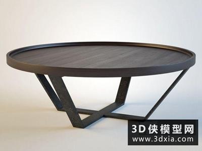 現代茶幾組合國外3D模型【ID:829677163】