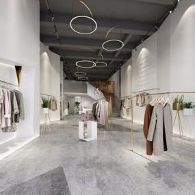 现代服装店铺3D模型【ID:528282405】