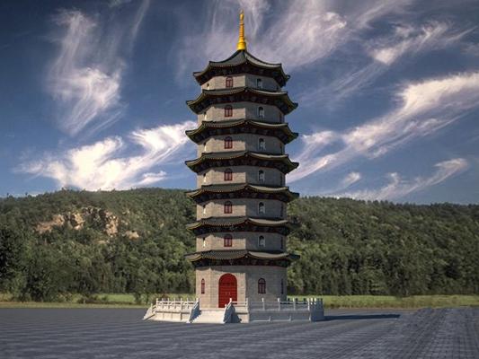 中式塔3D模型【ID:224893815】