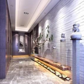 新中式门厅玄关3D模型【ID:227885713】