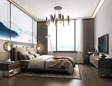 新中式臥室3D模型【ID:541629275】
