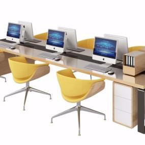 现代办公桌椅卡位3D模型【ID:628458677】
