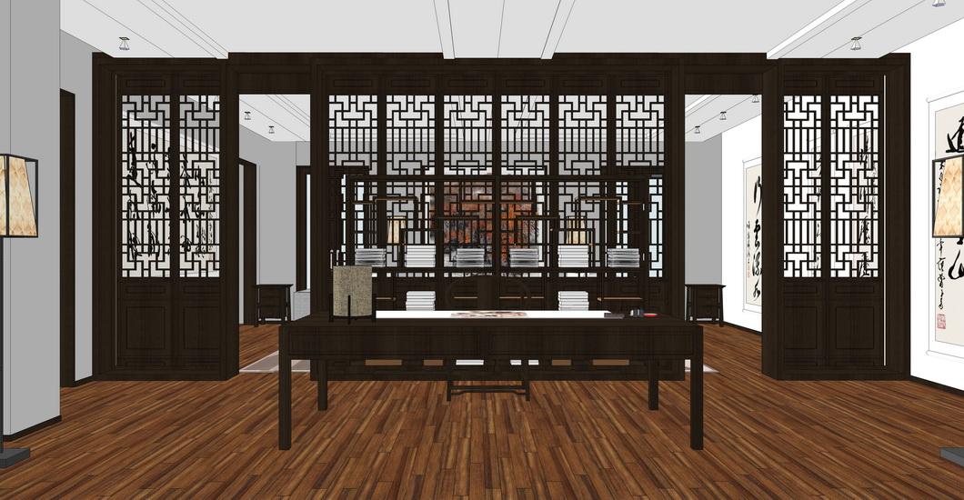 中式书房室内设计SU模型【ID:436424981】