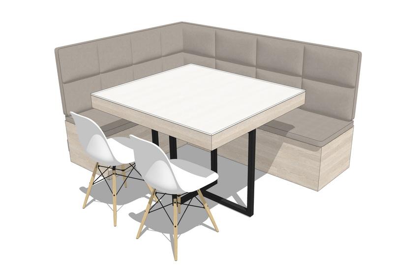 卡座餐桌SU模型【ID:636424692】