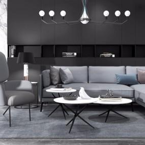 现代高级灰转角沙发茶几组合3D模型【ID:127874084】