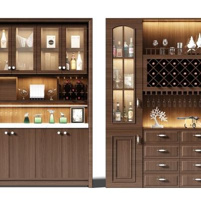现代实木酒柜摆件组合3D模型【ID:927833069】