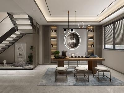 新中式茶室3D模型【ID:550469929】