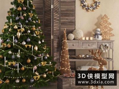 圣誕裝飾品組合國外3D模型【ID:929586843】