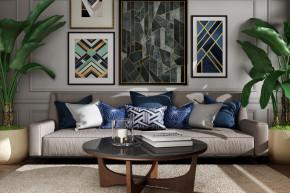 现代多人沙发茶几绿植盆栽装饰画组合3D模型【ID:127755037】