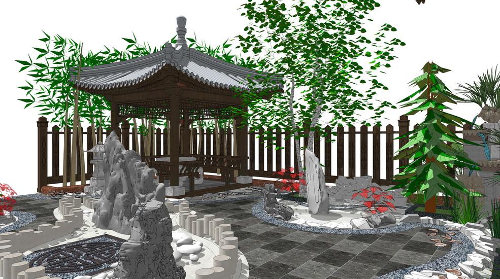 中式別墅庭院景觀SU模型【ID:536425933】