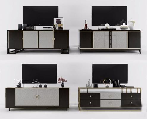 新中式电视柜摆件组合3D模型【ID:928349044】