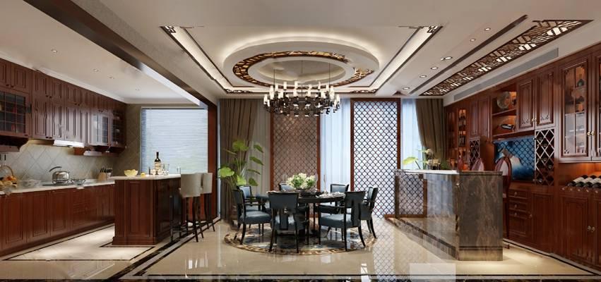 中式餐厅3D模型下载【ID:819664684】