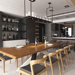 慕森設計-現代餐廳3D模型【ID:828154534】