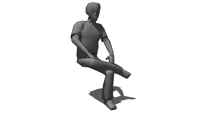 三人交叉腿坐SU模型【ID:139941358】