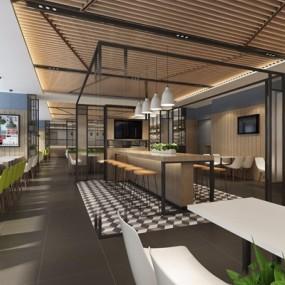 工业风员工餐厅3D模型【ID:728036760】