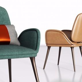现代皮革单椅组合3D模型【ID:227783460】