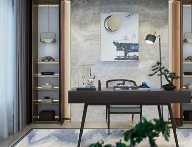 馥高设计 新中式别墅书桌椅组合 现代书桌 台灯 辟谷 摆件 盆栽 毛笔 书桌椅组合 馥高设计
