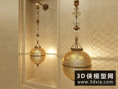 歐式奢華金屬壁燈國外3D模型【ID:829678861】