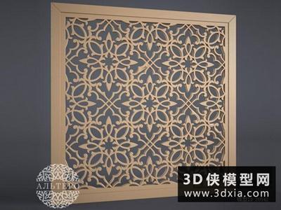 現代雕花板國外3D模型【ID:929503560】