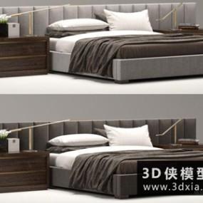 RH现代风格床国外3D模型【ID:729357982】