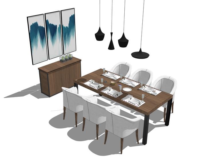 工业风餐桌吊打餐边柜组合SU模型【ID:636425693】